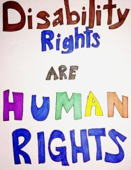"Poster USA con il testo ""Disability Rights are Human Rights"""