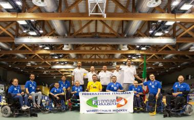 Nazionale Italiana di wheelchair hockey seconda agli Europei del 2016 in Olanda (©Photo Studio - PS)