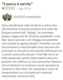 "Messaggio di ""Cico33"" in Tripadvisor, estate 2016"