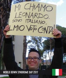Foto del sito EDSA (European Down Syndrome Association), dedicata a Leonardo, giovane italiano con sindrome di Down