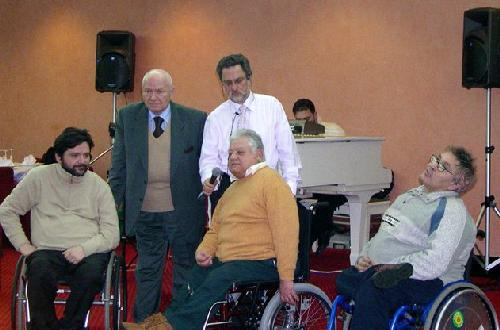 Pietro V. Barbieri, con Bruno Tescari e Giampietro Griffo, dell'European Disability Forum