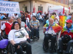 Immagini da una manifestazione di Disabled Peoples' International (DPI)
