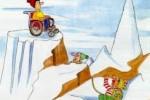 """Un disegno del noto illustratore Giannelli, che può ben rappresentare """"la scalata di Manuela""""(disegno di Emilio Giannelli in esclusiva per «DM», giornale della UILDM - Unione Italiana Lotta alla Distrofia Muscolare. Per gentile concessione)"""