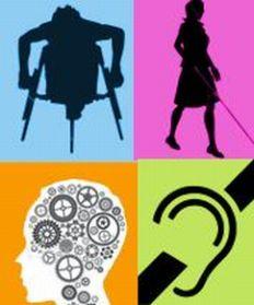 Loghi di tutte le forme di disabilità, su sfondi colorati