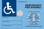 Un facsimile del CUDE (Contrassegno Unificato Disabili Europeo)