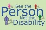 """Una realizzazione grafica americana corredata dal testo """"See the Person Not the Disability"""", ovvero, letteralmente, """"Vedi la Persona, non la disabilità"""""""