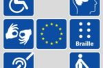 I loghi che rappresentano varie forme di disabilità, con la bandiera dell'Unione Europea al centro
