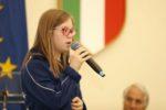 La giovane ginnasta Special Olympics Veronica Paccagnella, durante la presentazione al CONI della delegazione italiana in partenza per i Giochi di Abu Dhabi