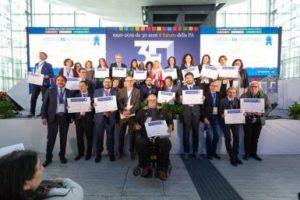 Lo staff di Jusabili (in primo piano il responsabile Vitaliano Ferrajolo), subito dopo la premiazione al Forum PA di Roma