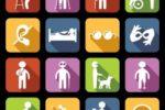 Un'elaborazione grafica comprendente i loghi di varie categorie di persone interessate alle tecnologie assistive