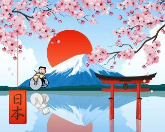 Ragazzo in carrozzina su sfondo di montagne giapponesi (realizzazione grafica di Gianni Minasso)