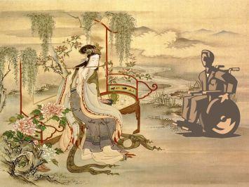 Persona in carrozzina inserita in un dipinto giapponese (realizzazione grafica di Gianni Minasso)