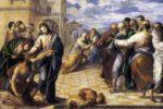 """El Greco, """"Gesù Cristo guarisce il cieco nato"""", circa 1567, olio su tavola, Dresda, Gemäldegalerie"""