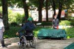 """Un giovane seguito dall'Istituto Riabilitativo Montecatone, alle prese con il Wheelchair Flying Disc (""""frisbee in carrozzina"""")"""
