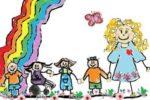 Disegno di una bimba con alcuni bambini e bambine e e un'insegnante di sostegno
