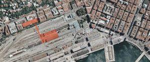 Anche qui è evidenziata in rosso la zona dei vecchi Silos Asburgici di Trieste